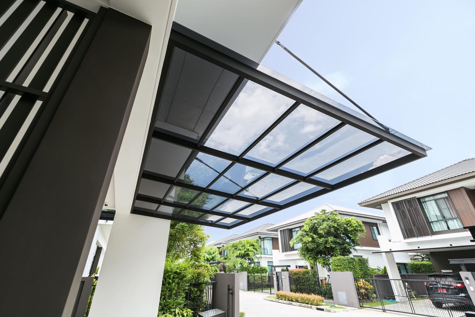 Premium heat reduction acrylic roof for parking in house modern-grey-color-laddarom-01