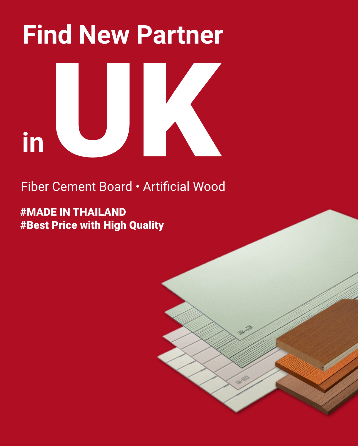 Find New Partner in UK - Fiber cement board-artificial wood made in thailand - Mobile