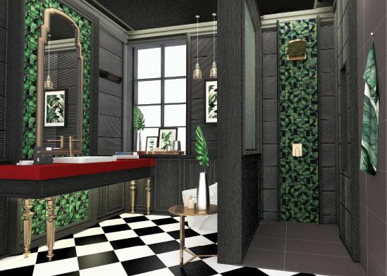 รีโนเวทห้องน้ำลายใบไม้-ตัวอย่างห้องน้ำสวย-thumb