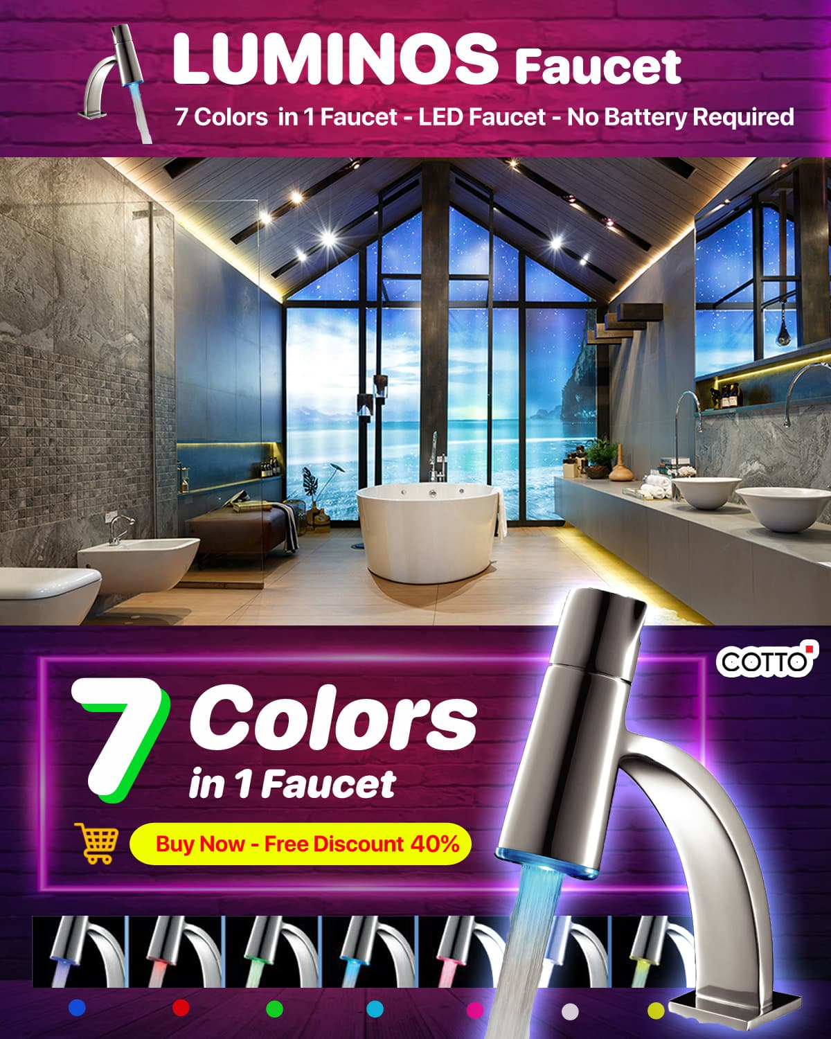 Cotto Faucet Luminos Series CT1139A new