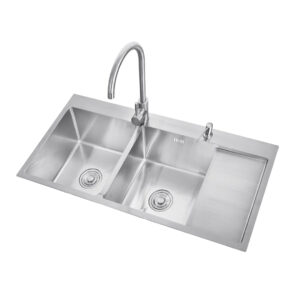 Kitchen Sink double Bowl with tray