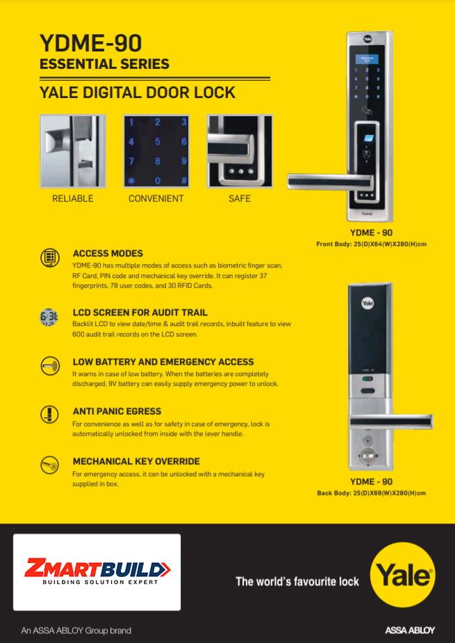 Yale Digital Door locks YDME-90 product information 2 - resize