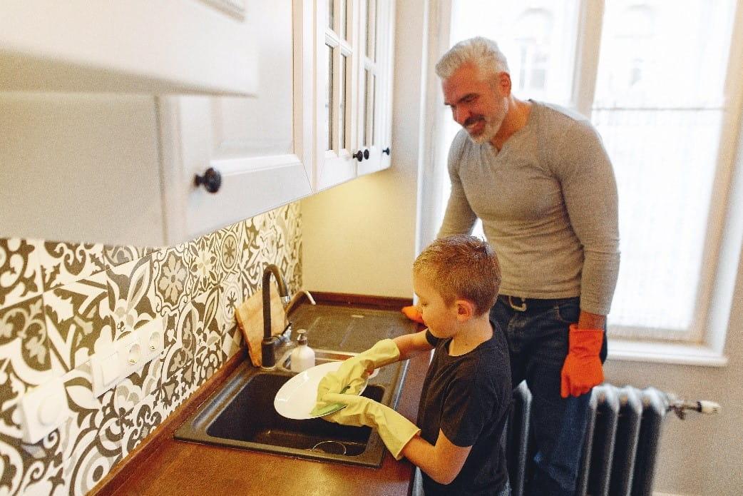 Kitchen sink with child