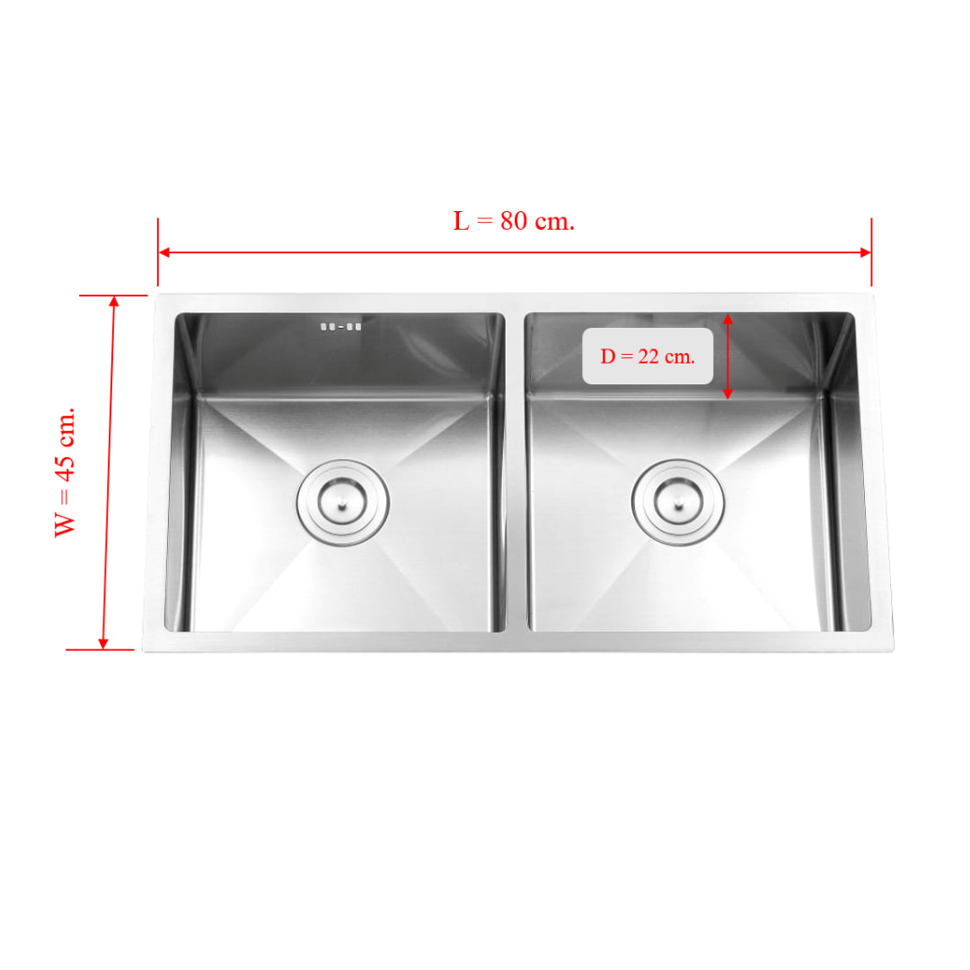 Kitchen Sink double Bowl Surface 3.5 mm Bowl 1.2 mm (Zm8045A)