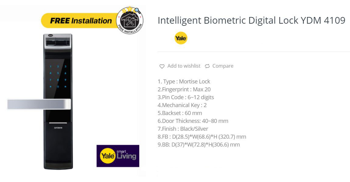 Digital lock YDM 4109