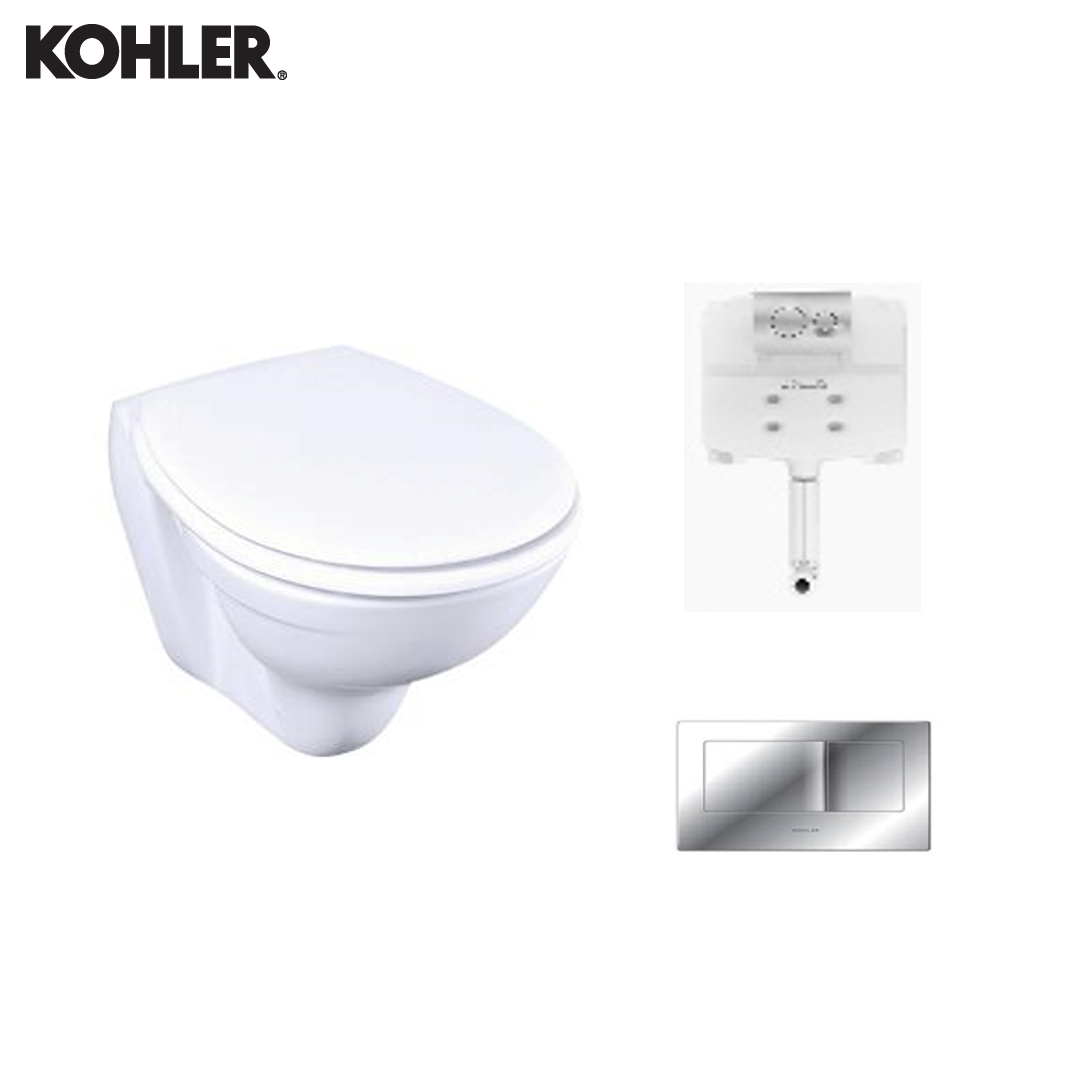 KOHLER Wall Hung Toilet - 13945IN-S-0 + 77027IN-NA + 8857IN-A-CP