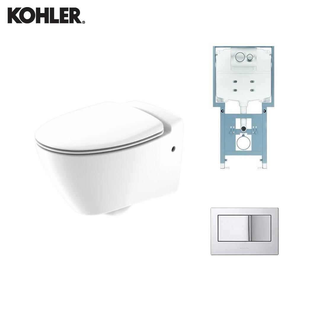KOHLER Wall Hung Toilet - 18133IN-2SR-0 + 77028IN-M-NA + 8857IN-M-CP