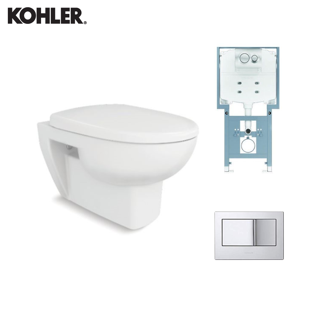 KOHLER Wall Hung Toilet - 72987IN-S-0 + 77028IN-M-NA + 8857IN-A-CP