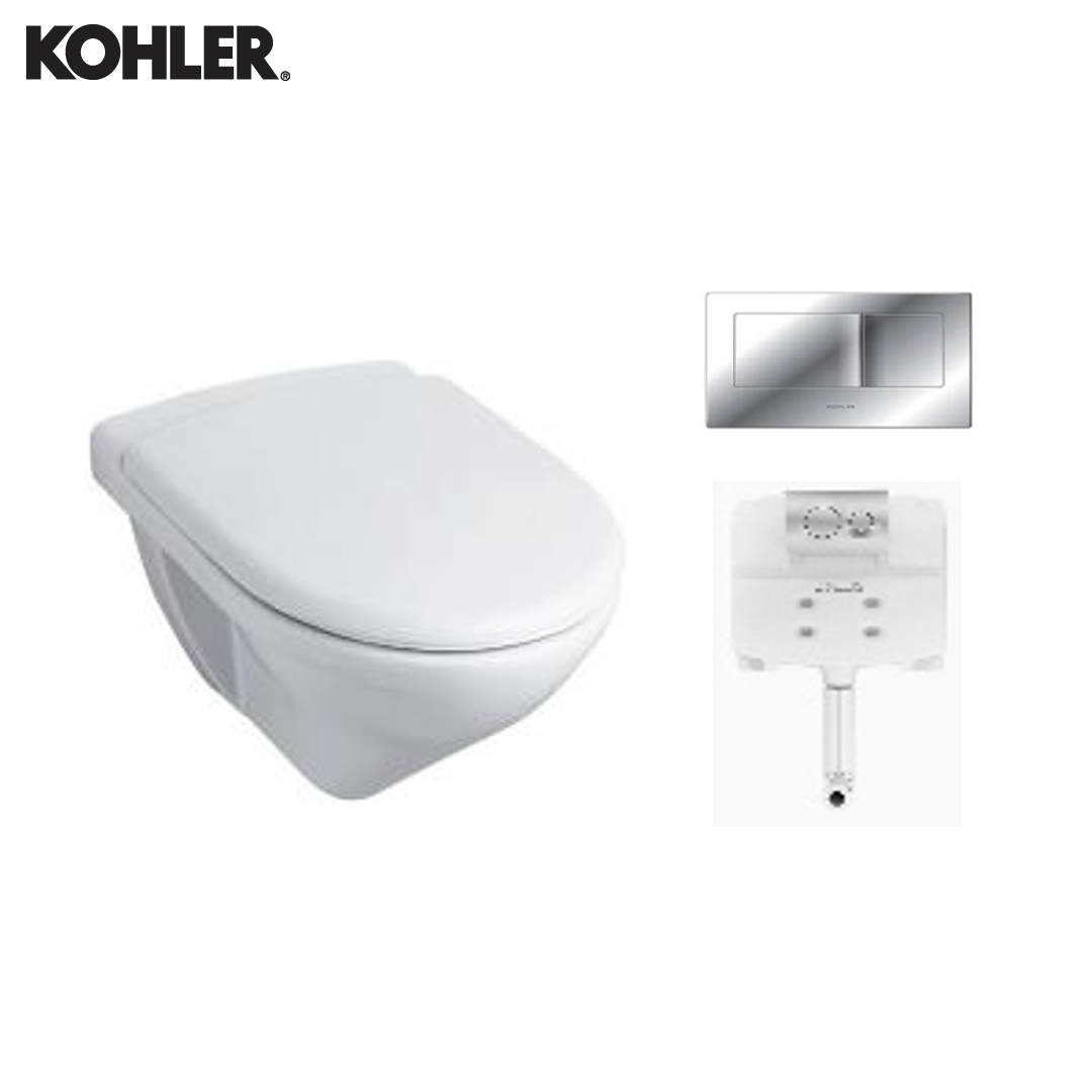 KOHLER Wall Hung Toilet - 8752IN-S-0 + 77027IN-NA + 8857IN-A-CP