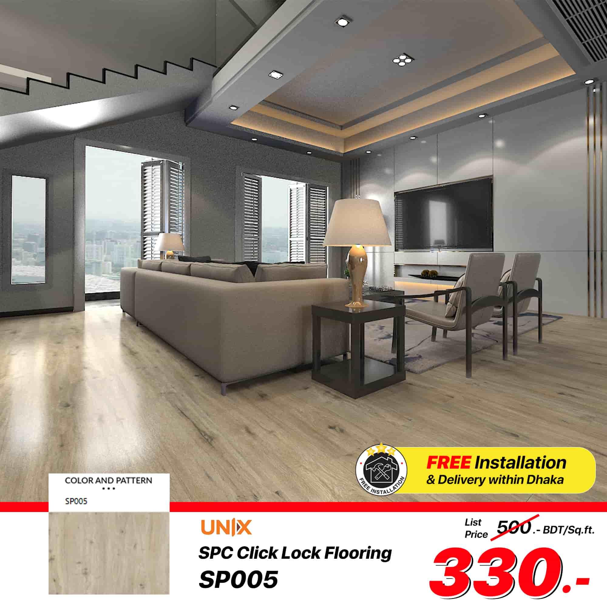 SPC Click Lock Flooring (SP005) Size: 180x1220x4 mm