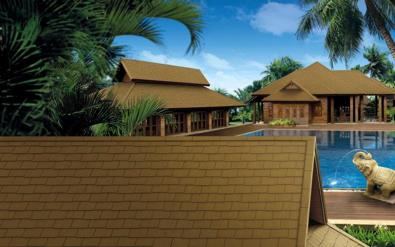 Fiber Cement Roof for Resort and Spa - Ayara Timber Grain - Walnut Brown
